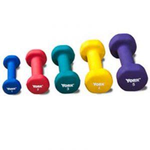 Neoprene Coated Dumbbells - Set of 5 - 1lb to 5 lbs