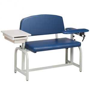 Lab X Series Extra Wide Blood Draw Chair with Flip Arm & Drawer