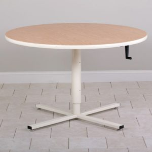 Round Top Hand Crank Adjustable Table