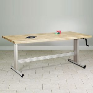 Group Therapy Butcher Block Table w/Hand Crank Height Adjustment