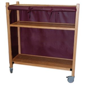 MRI Non-Magnetic Oak Coil Cart with Three Shelves
