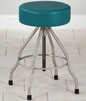 Stainless Steel Stool with Padded Seat and Rubber Feet