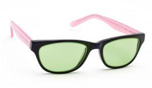 Model CAT01 Glassworking Safety Glasses - Light Green Filter - Black and Pink