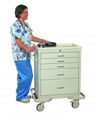 Anesthesia Crash Cart - Standard 5 Drawer - Locking