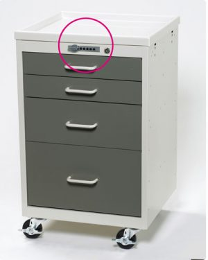 4 Drawer Mini Tower with Push-Button Lock