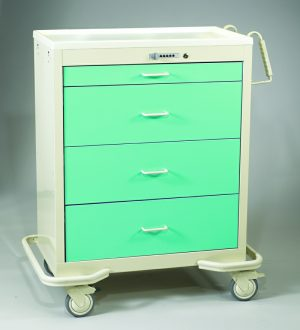 4 Drawer Wide Push-Button Lock Cart - Aluminum