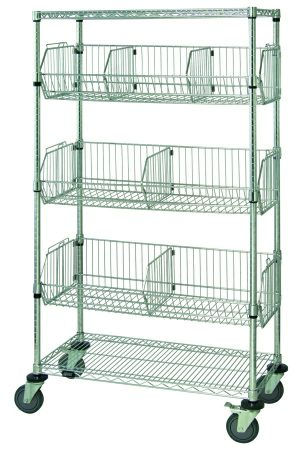 Wire Basket Mobile Cart with Three Shelves & Three Baskets