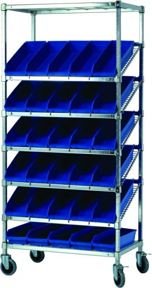 Wire Storage - Mobile Slanted Wire Shelving Unit